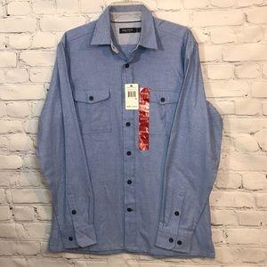 NWT Men's Nautica Blue Twill Medium ButtonUp Shirt